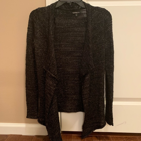 Express Sweaters - Sparkly Black Express Cardigan